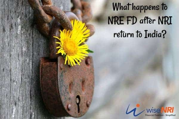 NRE FD after return to India